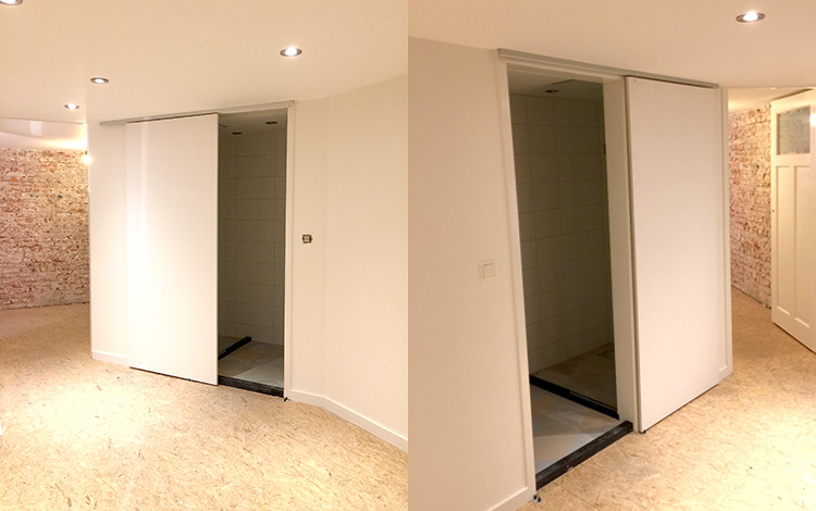 PICTURE 1 of 16 - THE TWO BLANK SLIDING DOORS - Work-in-progress - Painted sliding doors for bathroom Airbnb location