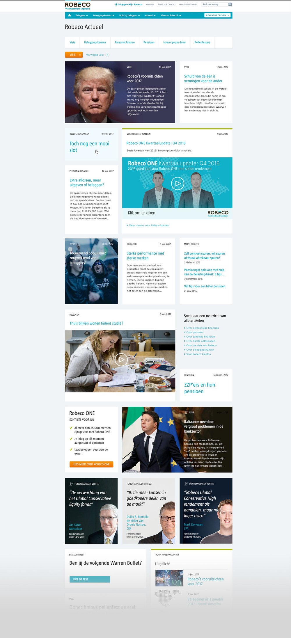 Picture 1 of 6  - Re-designed Robeco.nl News Page with various options to present the content.