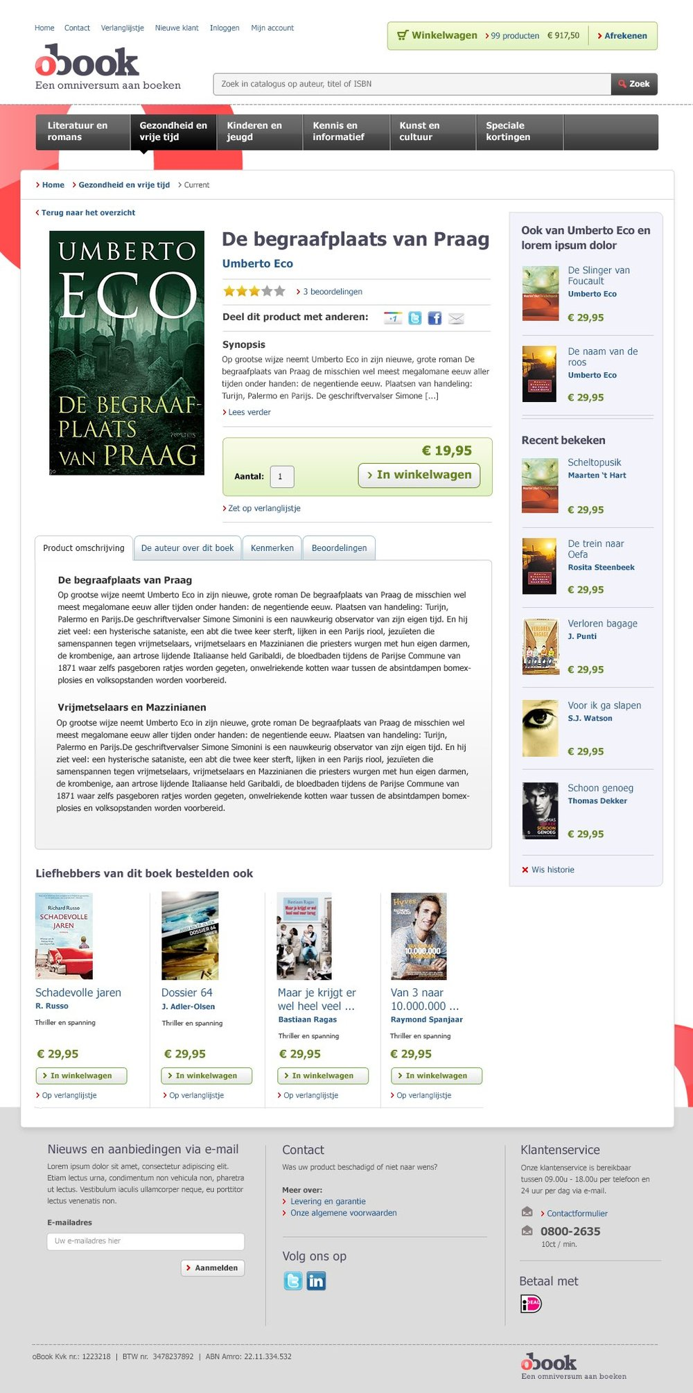 OBOOK.NL E-BOOK WEBSHOP - PRODUCT DETAIL PAGE DESIGN