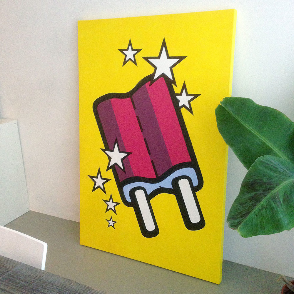 Photo 1 of artwork 'Ice cream' by Dutch artist Michiel Nagtegaal is an illustration / painting on a yellow canvas depicting an ice cream popsicle, also known in the Netherlands as 'dubbellikker'