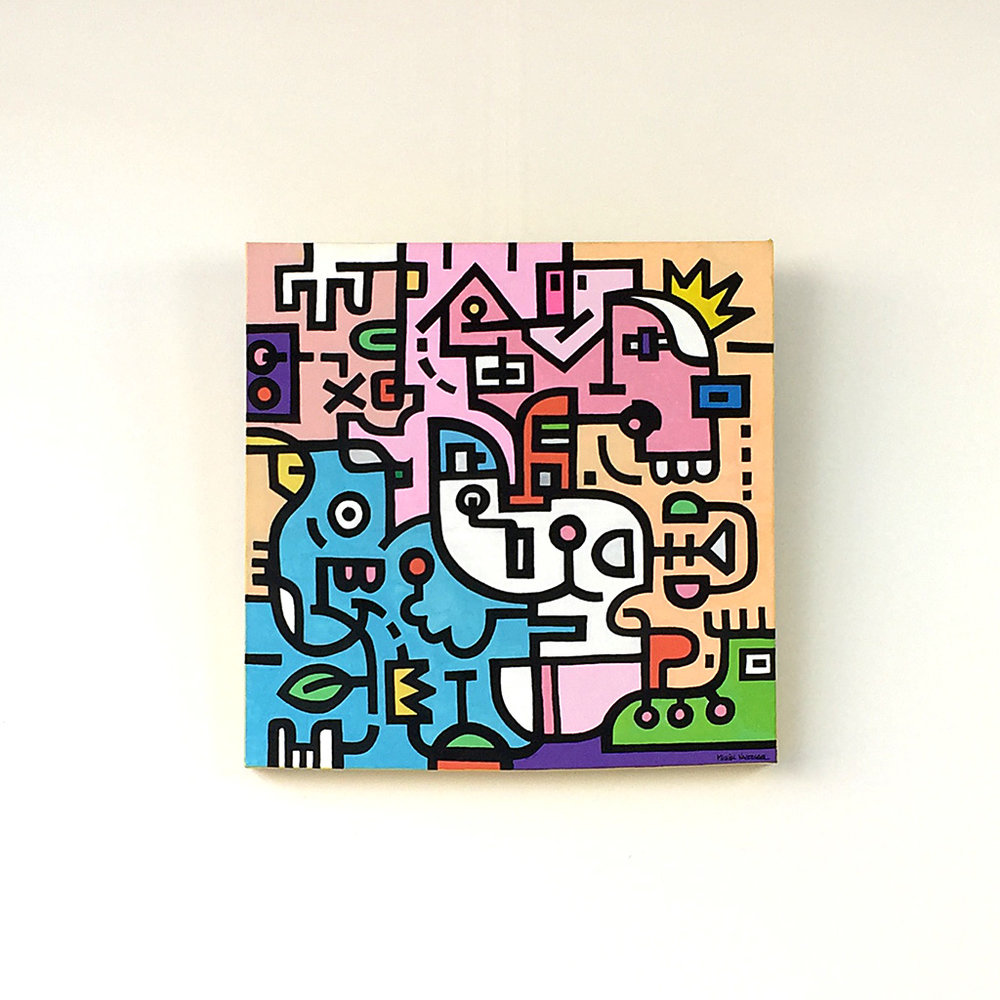 Image 1 of 8 - Front view of artwork 'King Candy', a colourful painting with black bold lining on canvas by Dutch contemporary urban artist Michiel Nagtegaal