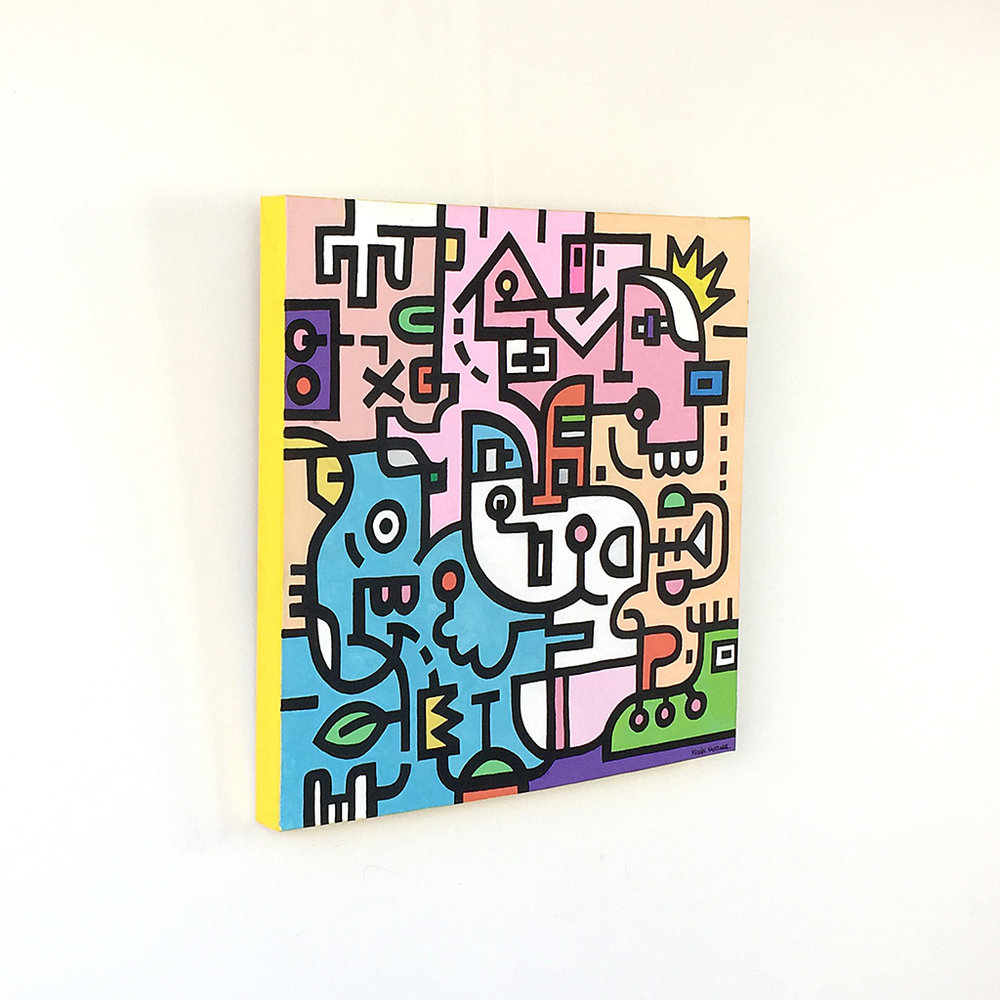 Image 2 of 8 - Left side view of artwork 'King Candy', a colourful painting with black bold lining on canvas by Dutch contemporary urban artist Michiel Nagtegaal