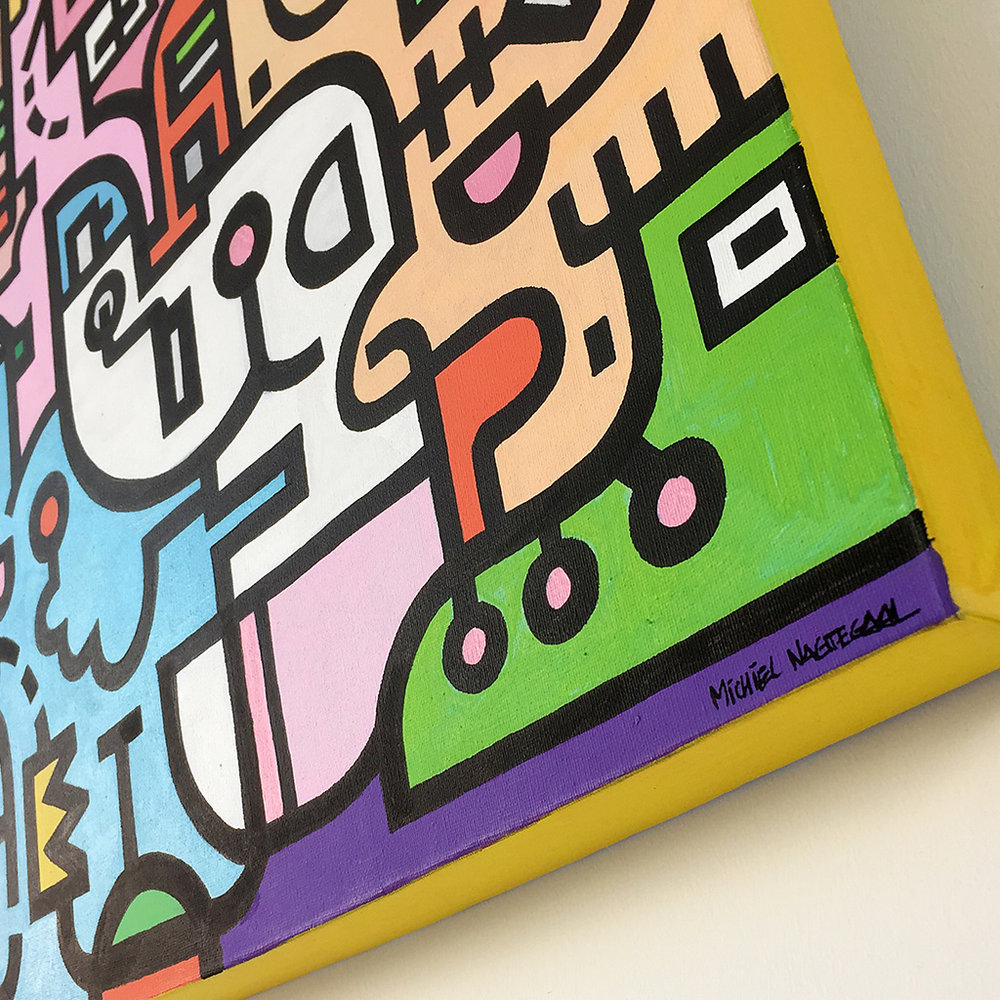 Image 4 of 8 - Close-up view 1 of artwork 'King Candy', a colourful painting with black bold lining on canvas by Dutch contemporary urban artist Michiel Nagtegaal