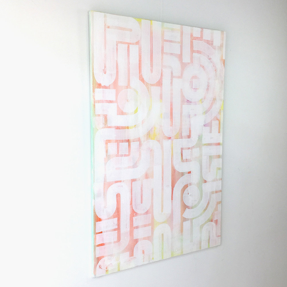 Photo 3 of 7 - Left side view of artwork 'soft skin' - an abstract painting on canvas by Dutch contemporary urban artist Michiel Nagtegaal
