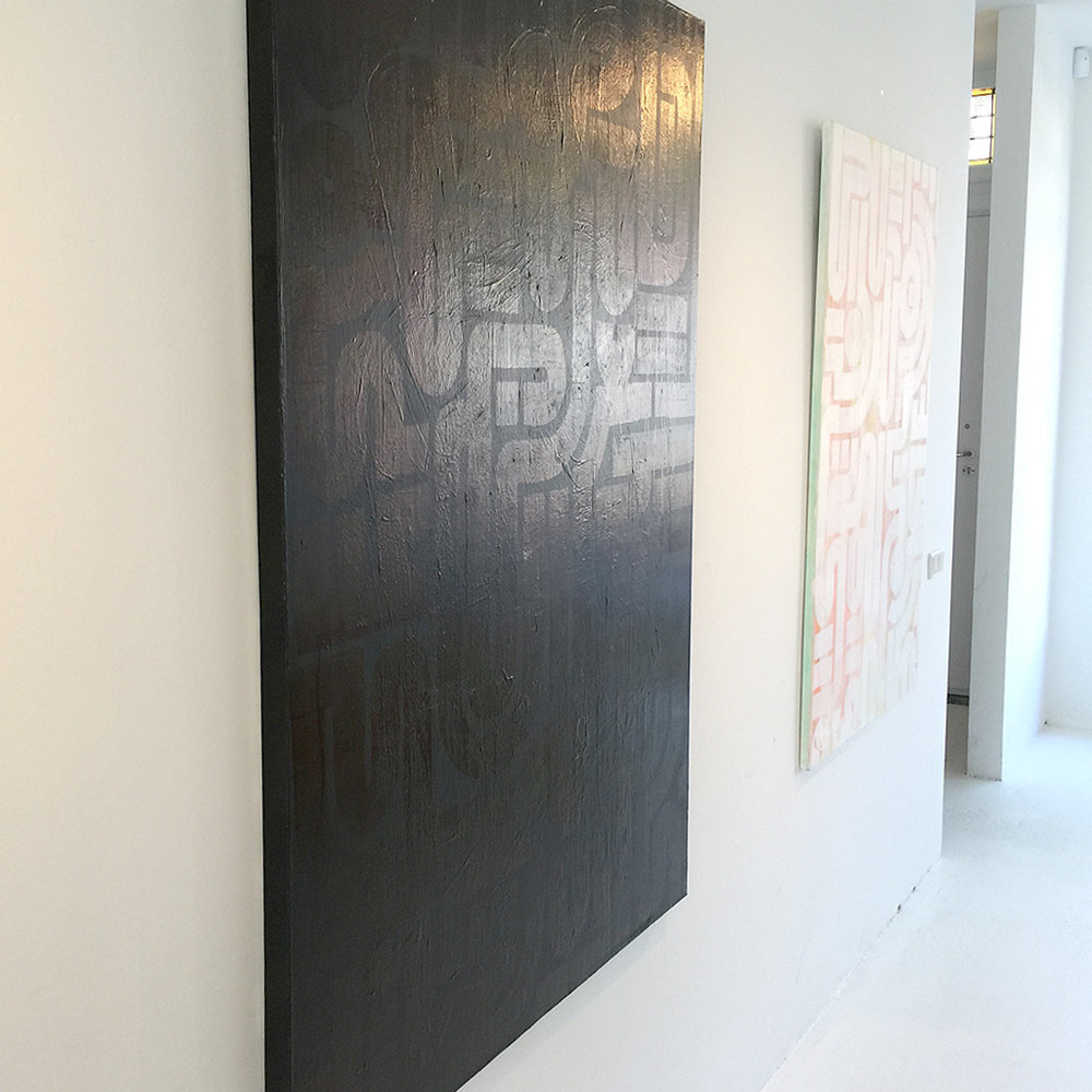 Image 3 of 5 - Left view of artwork 'Back to Black I' - a larger abstract dark painting on canvas by Dutch contemporary urban artist Michiel Nagtegaal