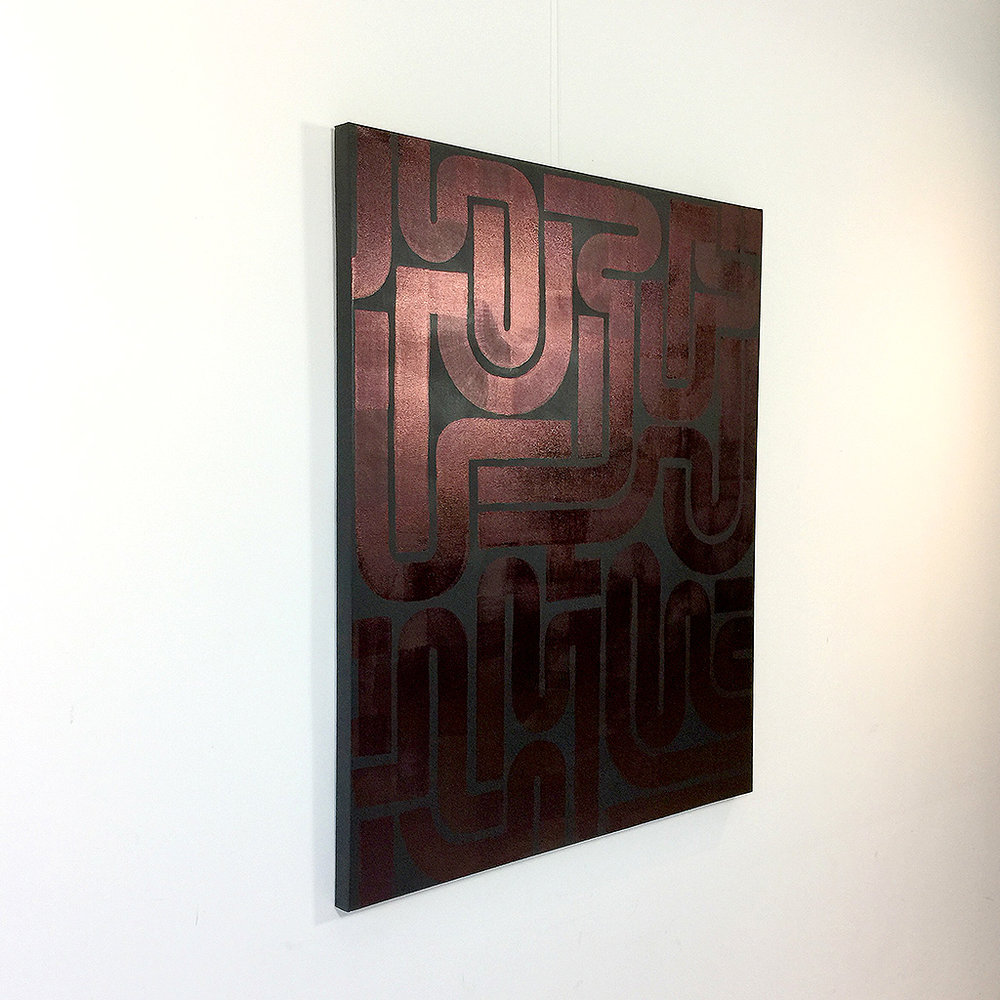 Image 2 of 6 - Left side view of artwork 'Back to Black II' - an abstract dark / copper painting on canvas by Dutch contemporary urban artist Michiel Nagtegaal