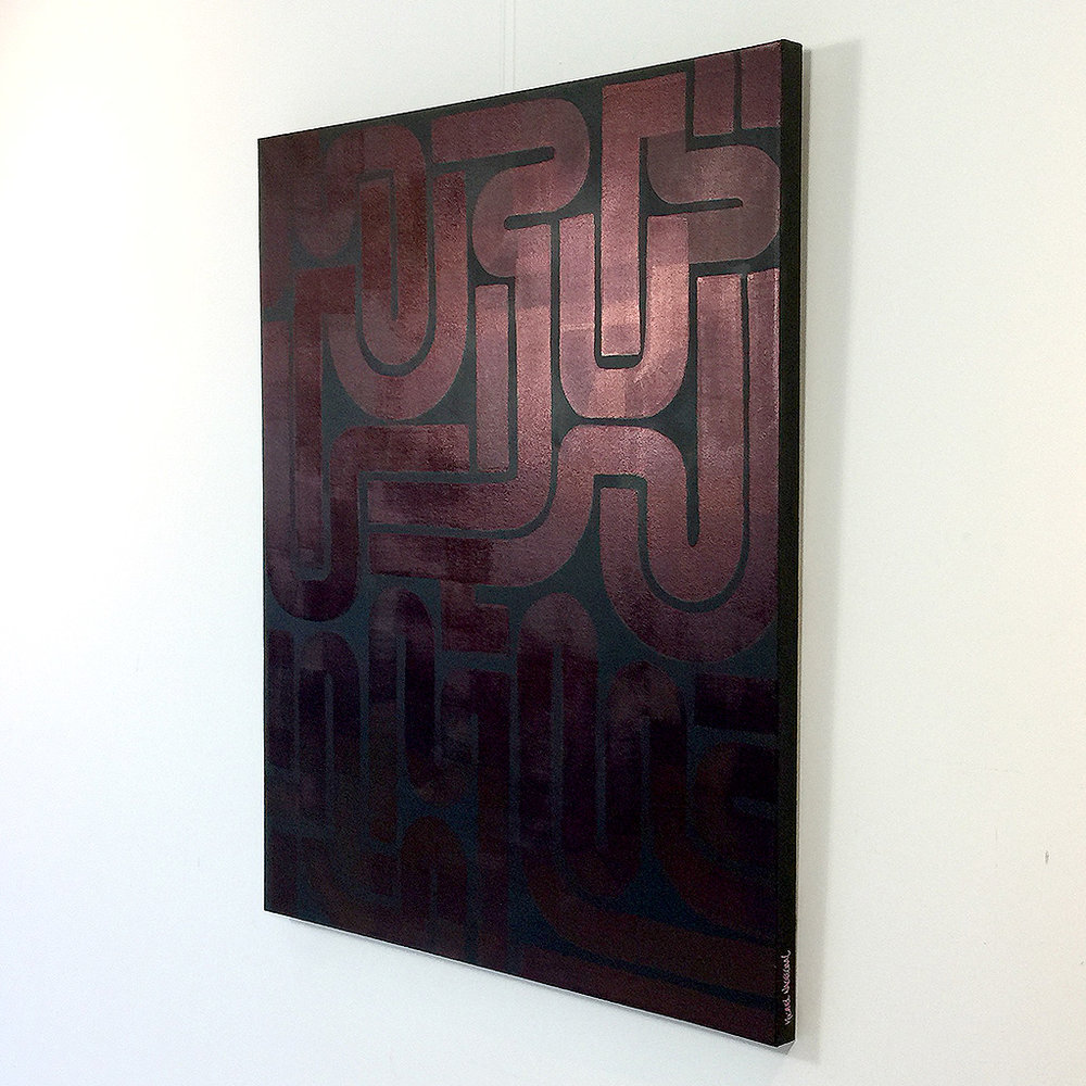 Image 3 of 6 - Right side view of artwork 'Back to Black II' - an abstract dark / copper painting on canvas by Dutch contemporary urban artist Michiel Nagtegaal