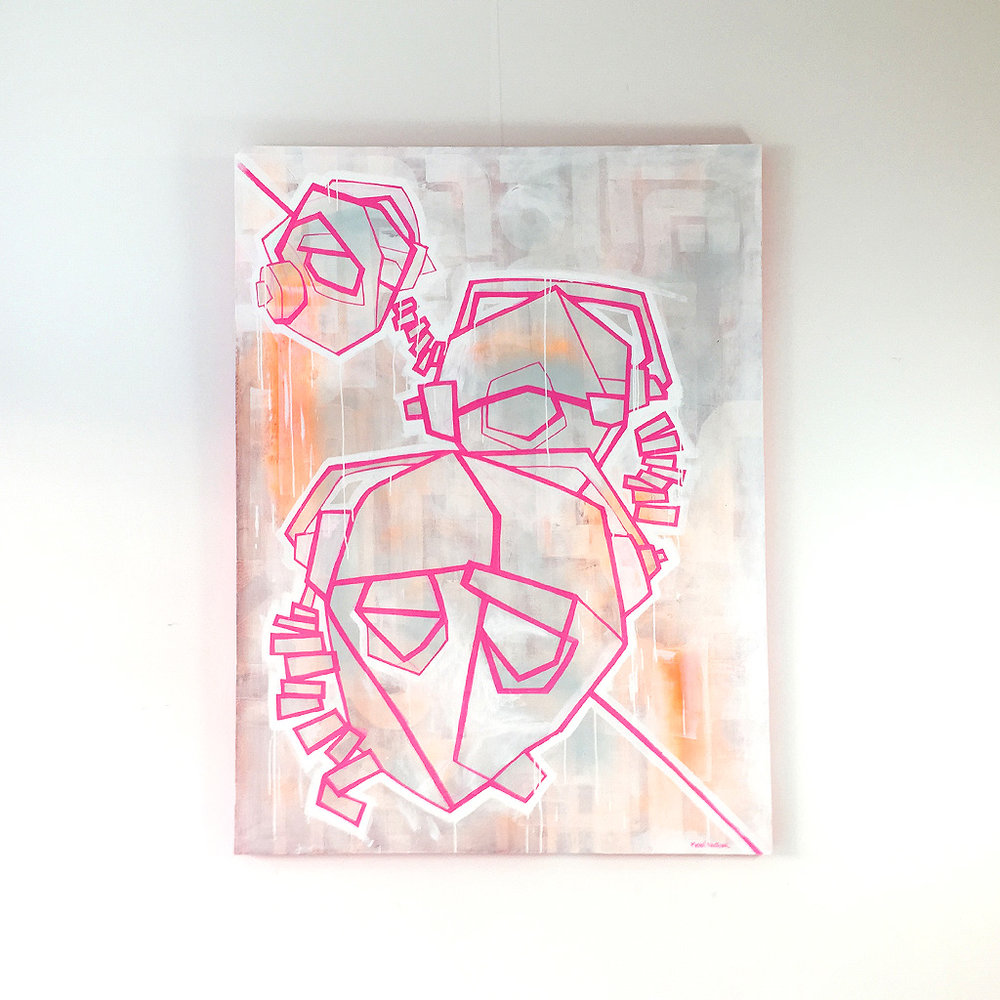 Photo 1 of 6 - Front view of artwork 'Three headphones' - an illustration / painting with pink lines depicting three dJ heads with headphones, on a light coloured canvas by Dutch contemporary urban artist Michiel Nagtegaal
