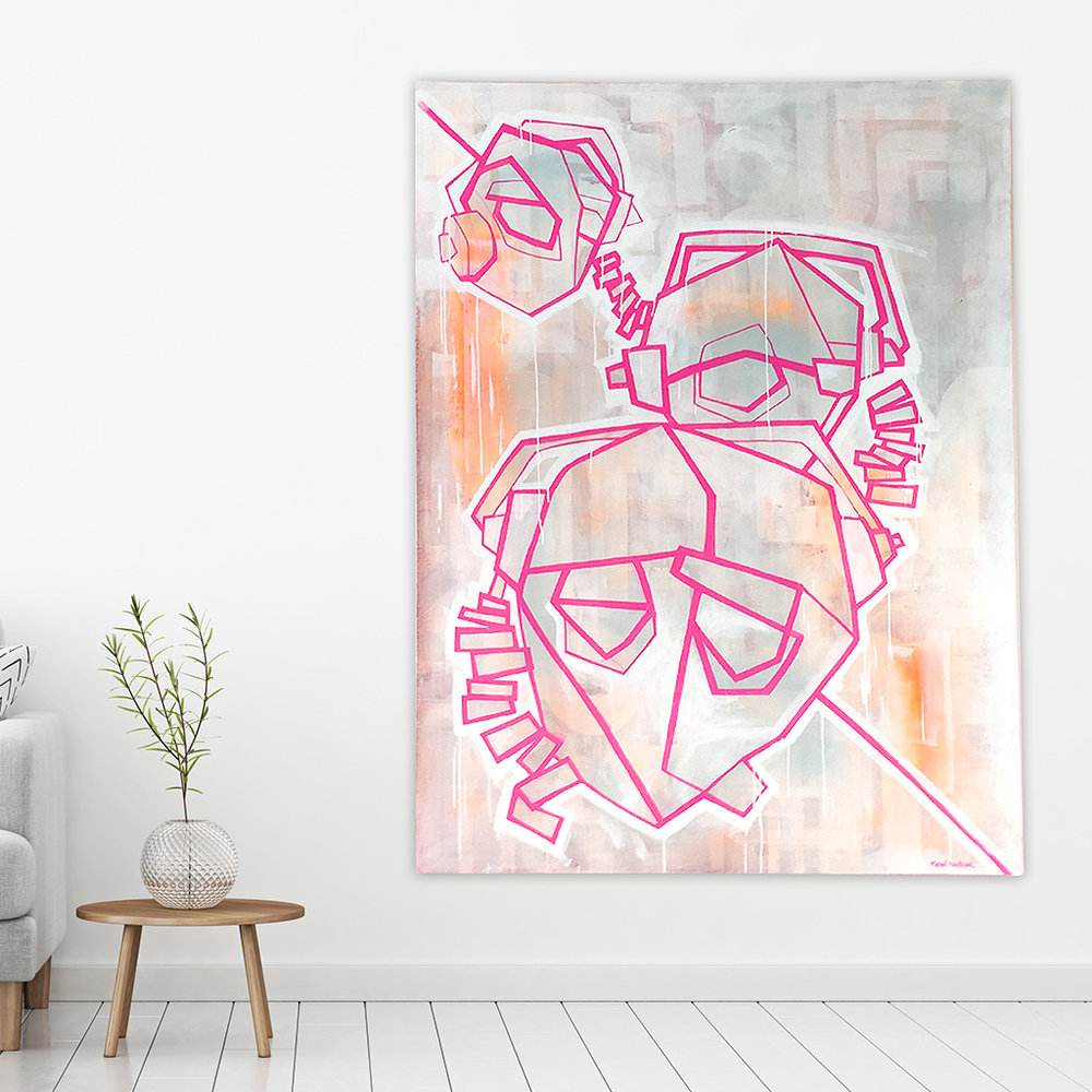 Photo 2 of 6 - View of a living room with artwork 'three headphones' - a painting / illustration with pink lines depicting three dJ heads with headphones, on a light coloured canvas by Dutch contemporary urban artist Michiel Nagtegaal