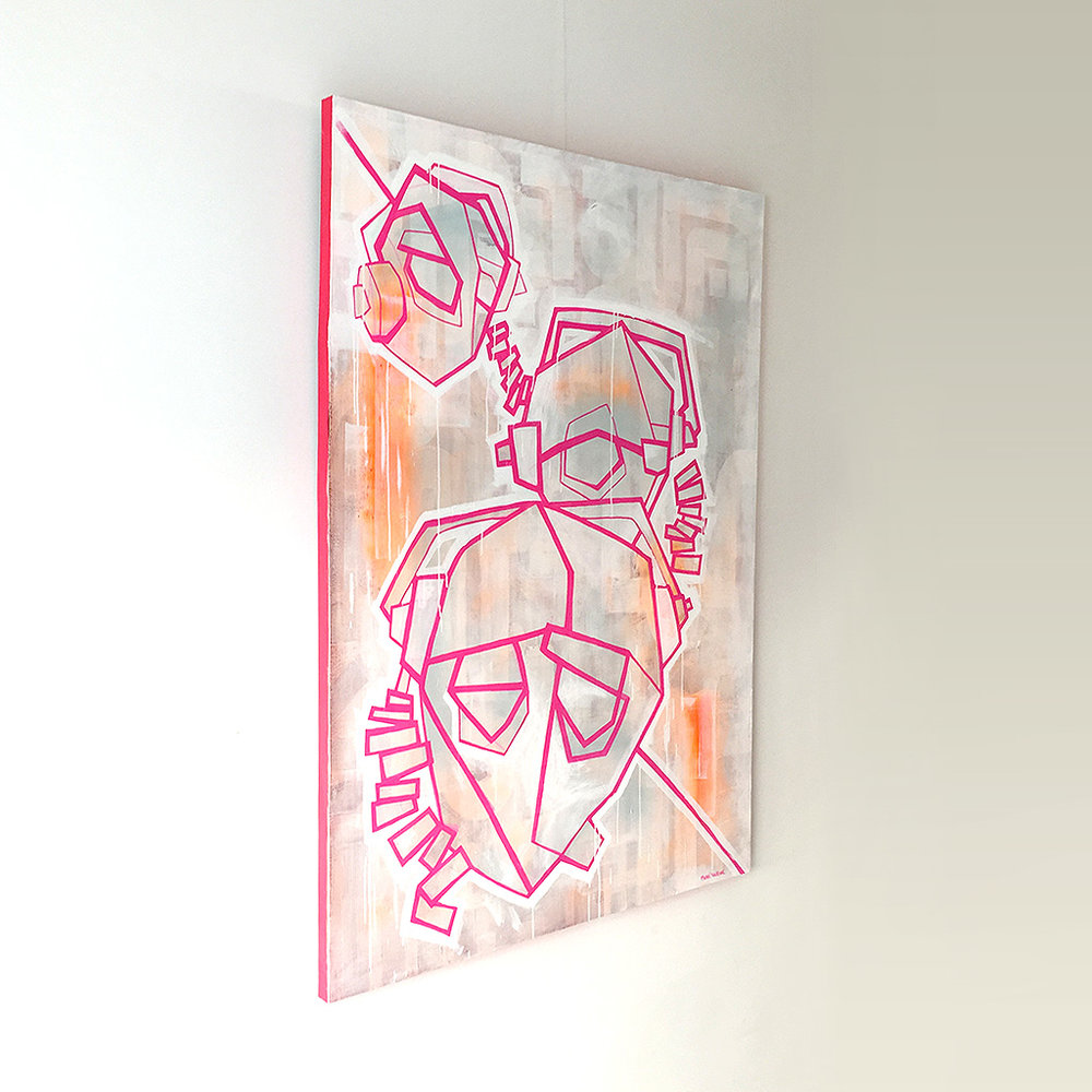 Photo 3 of 6 - Left view of artwork 'three headphones' - a painting / illustration with pink lines depicting three DJ heads with headphones, on a light coloured canvas by Dutch contemporary urban artist Michiel Nagtegaal