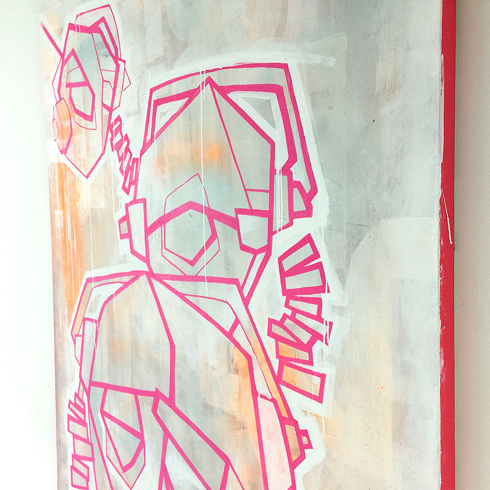 Photo 4 of 6 - Right view  of artwork 'three headphones' - a painting / illustration with pink lines depicting three DJ heads with headphones, on a light coloured canvas by Dutch contemporary urban artist Michiel Nagtegaal