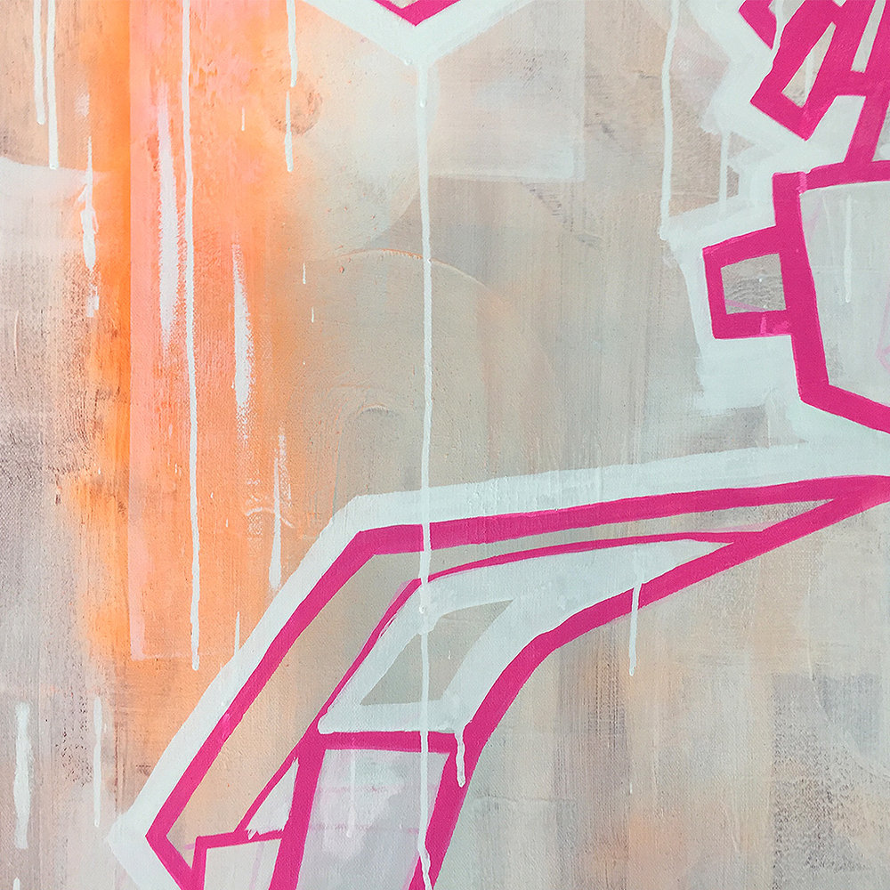 Photo 5 of 6 - Close-up view 1 of artwork 'three headphones' - a painting / illustration with pink lines depicting three DJ heads with headphones, on a light coloured canvas by Dutch contemporary urban artist Michiel Nagtegaal