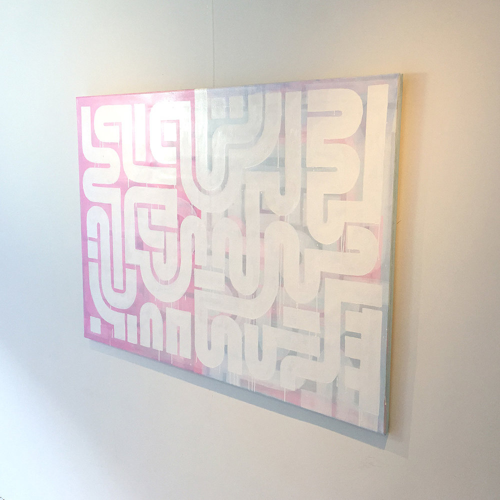 Photo 4 of 5 - Right side view of artwork 'Duality' -An abstract painting with white lines on a blue and pink coloured canvas by Dutch contemporary urban artist Michiel Nagtegaal