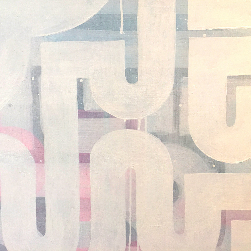 Photo 5 of 5 - Close-up view of artwork 'Duality' -An abstract painting with white lines on a blue and pink coloured canvas by Dutch contemporary urban artist Michiel Nagtegaal