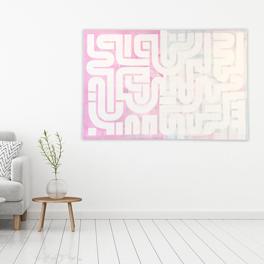 Photo 2 of 5 - Living room view of abstract artwork 'Duality' -A painting with white lines on a blue and pink coloured canvas by Dutch contemporary urban artist Michiel Nagtegaal