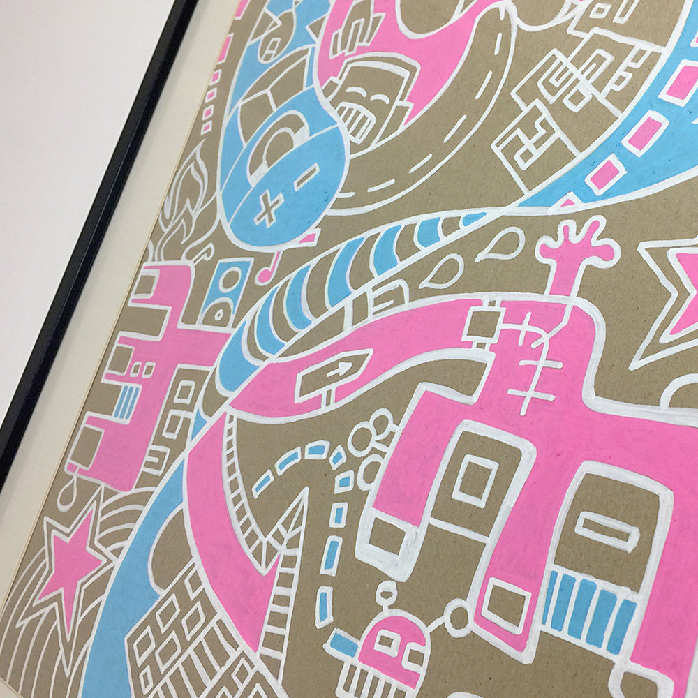 Photo 3 of illustration 'Aliens Night Out' on cardboard by Dutch contemporary urban artist Michiel Nagtegaal - White lines with pink and blue parts
