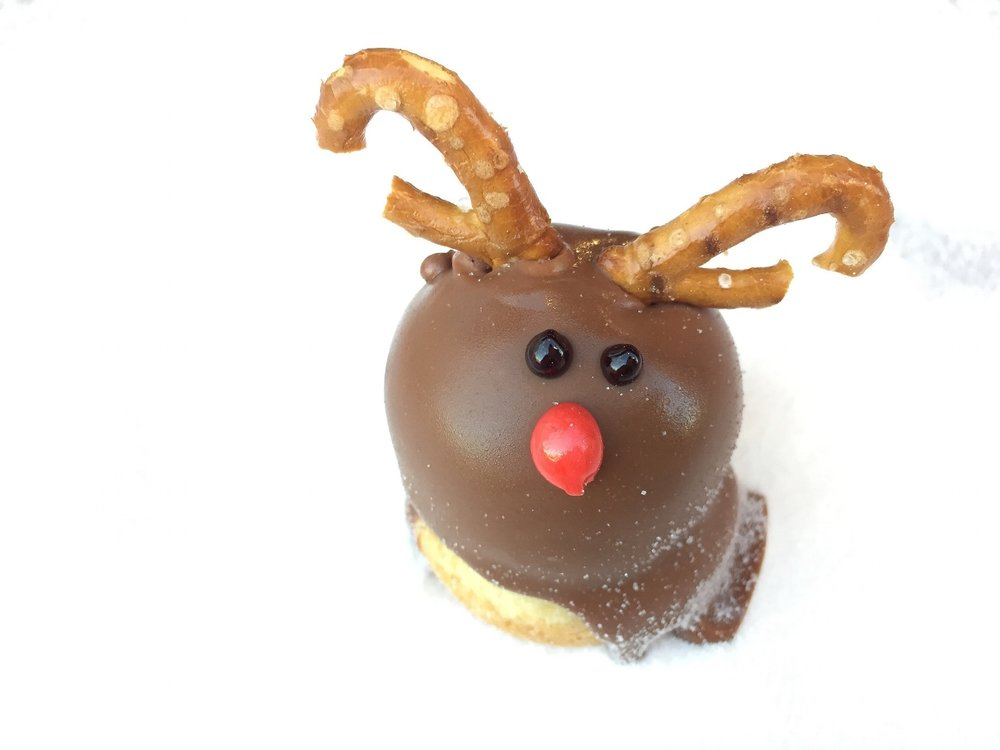 rudolph - brownie cookie & cookies and cream ice cream coated in milk chocolate