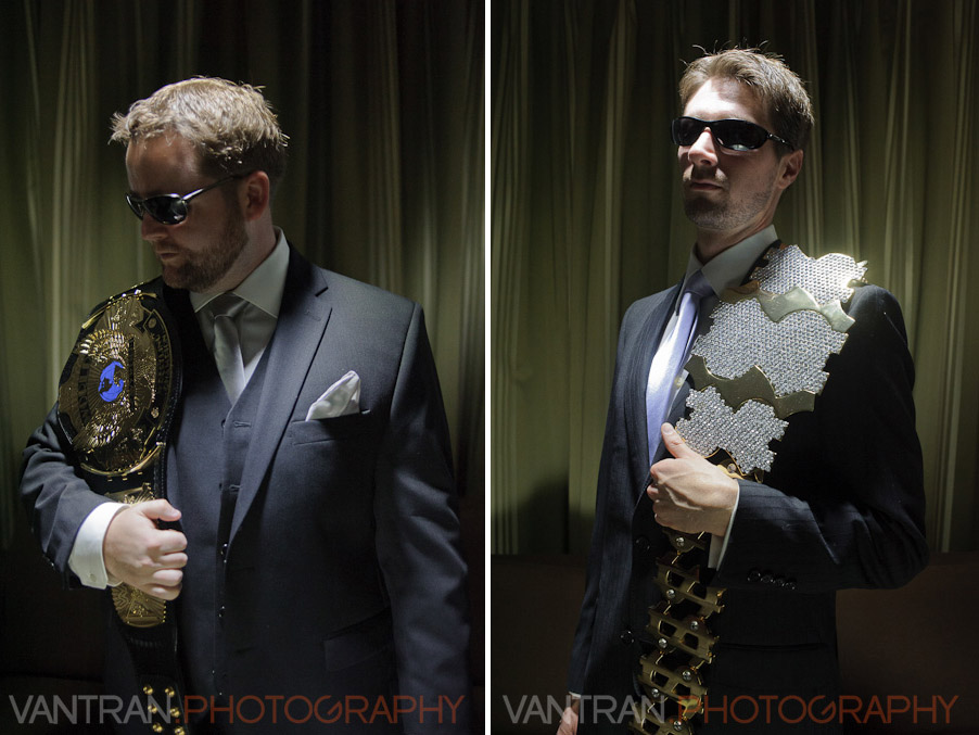 groom and bestman WWE championship belts inside Westin Hotel wedding