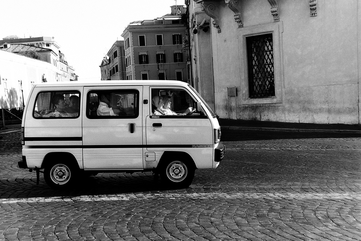 Italy, minivan, nuns, road, rome, van