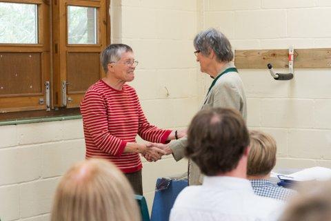 Retiring President Mrs Jane Ing welcomes incoming President Mrs Lesley Mead.