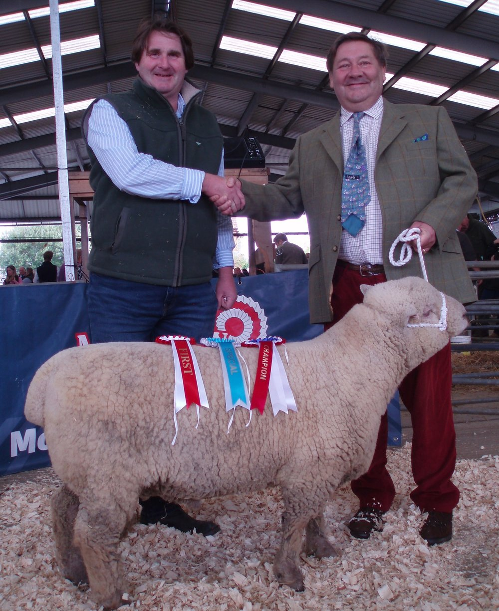 Show Champion ; shearling ram de Pibrac 'Teddy' 17/00231, bred by Mr Nigel Barrington-Fuller, pictured with judge Mr Stephen Humphrey