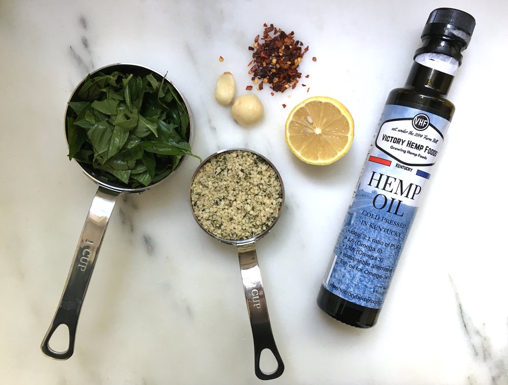 Ingredients for this spicy basil pesto include Victory Hemp Foods' hemp seeds and hemp oil