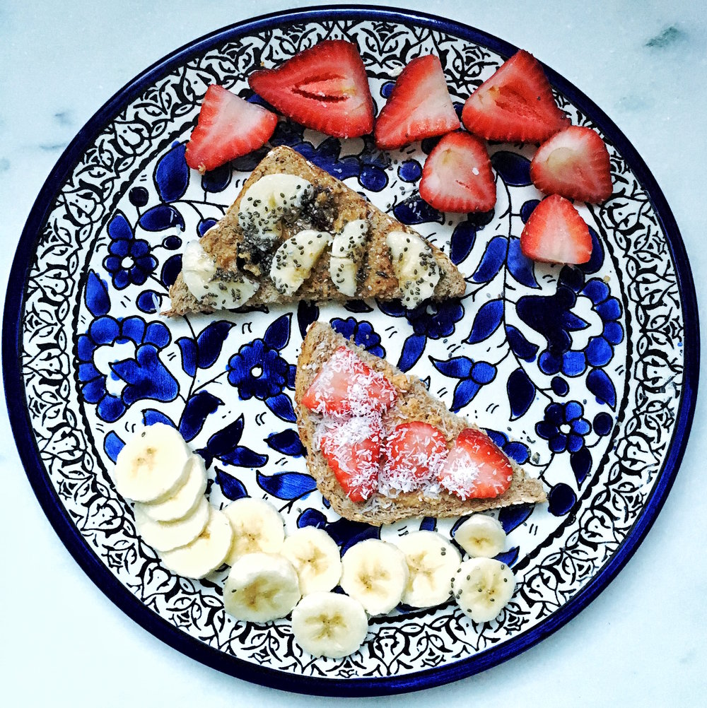 Love the sunflower seed butter with banana and chia and the cashew butter with strawberries and raw coconut flakes.