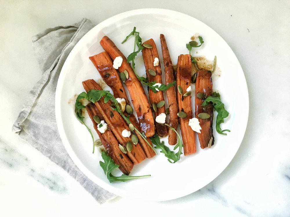 Love these carrots with goat cheese, pepitas and arugula.