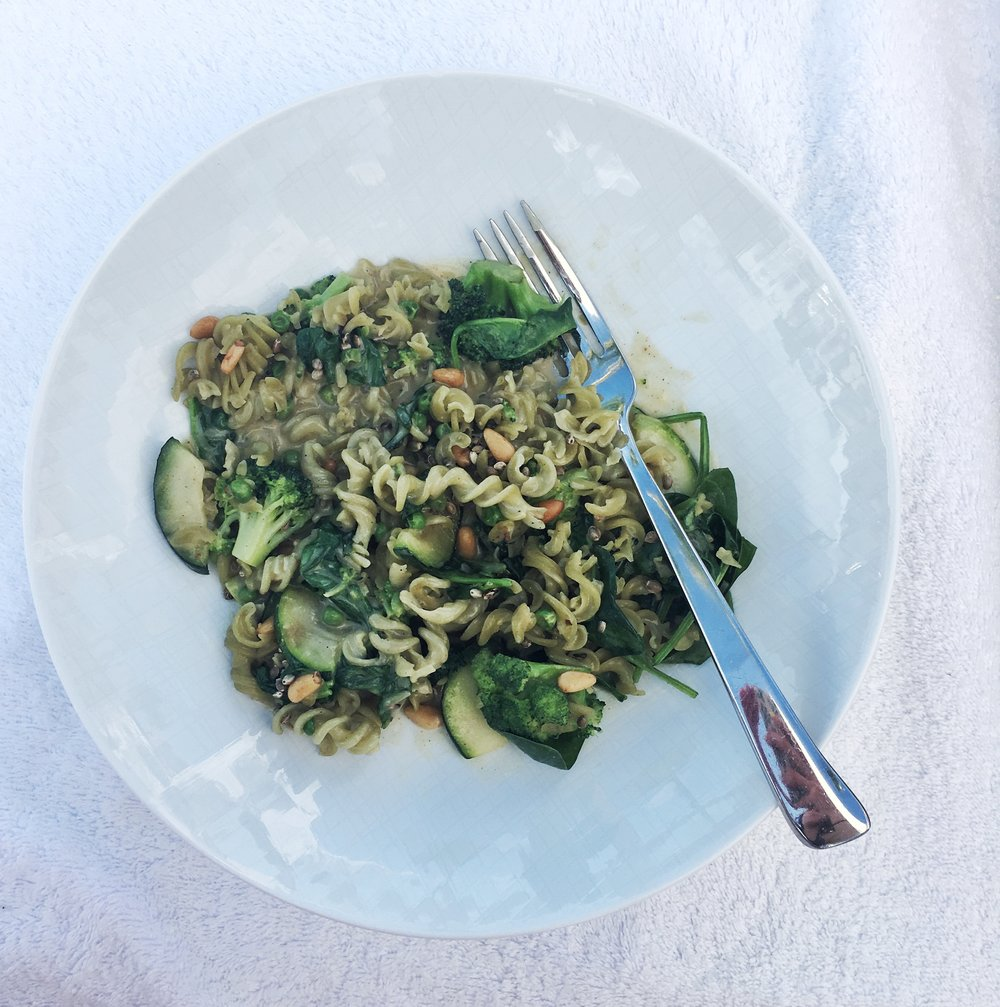 Indulgent tasting, yet clean Broccoli Pea Fusilli from the Eden Roc Wellness Menu created by Aminata