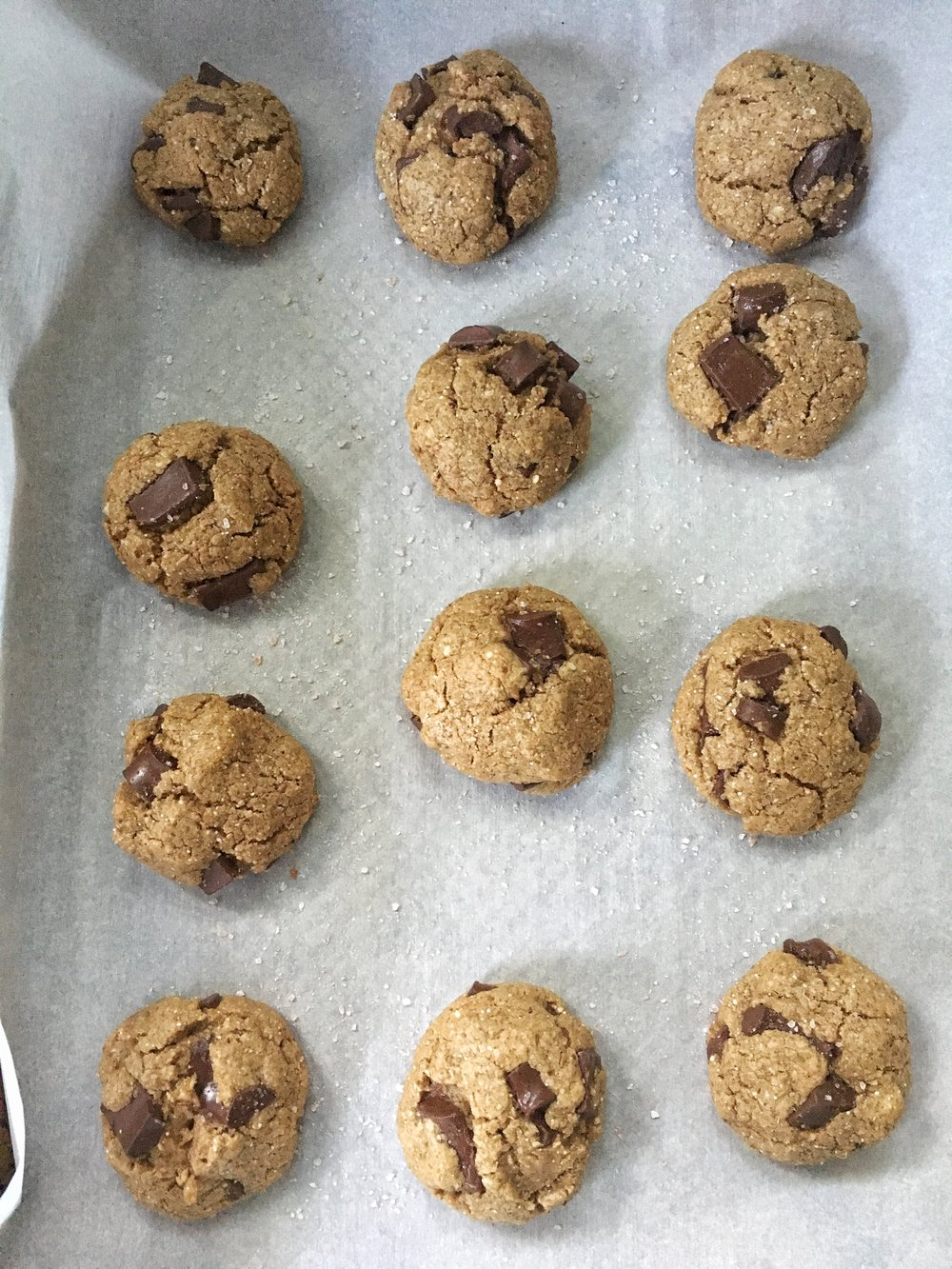 Don't forget to top the cookies with sea salt- so good!
