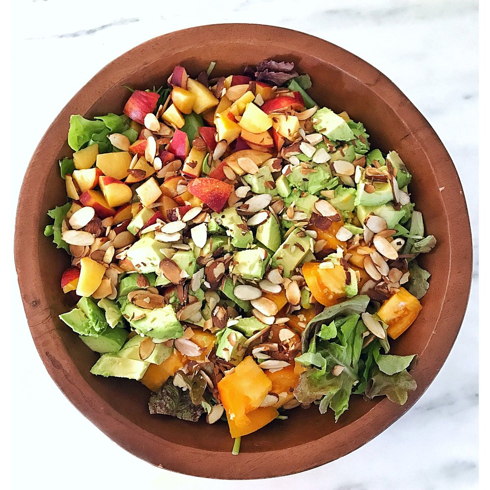 Peach, tomato, avocado, toasted almonds and greens
