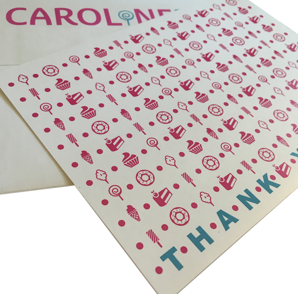 Custom thank you notes with the candy motif.