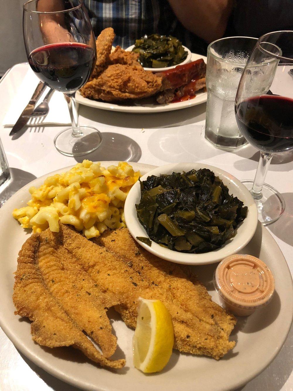 Soul food | fried catfish, collard greens, mac n cheese.