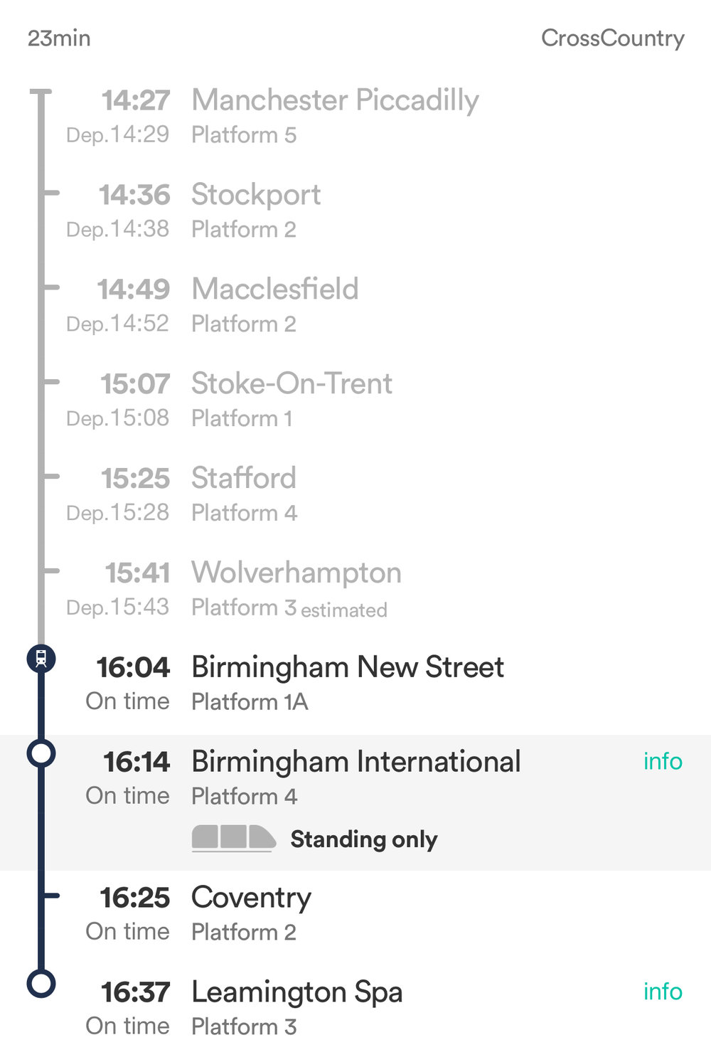 Manchester to Leamington Spa with no changes