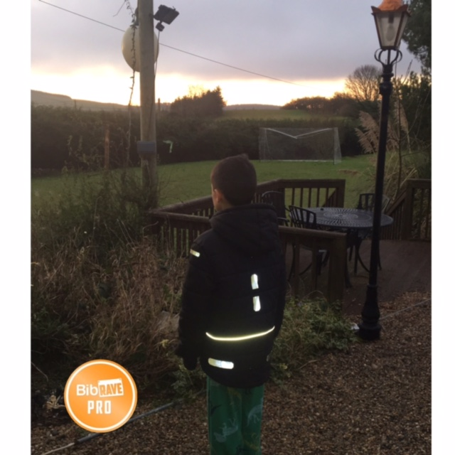 During these dark, Irish winter months, it is typical for my kids to walk to a from school with no daylight. I applied the Stick-On strips to my son's jacket to make sure he could be seen as well!
