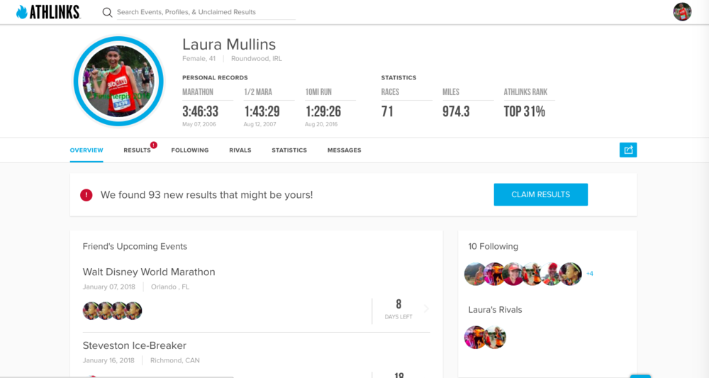 My Athlinks Profile! I love how it shows my PBs at the top. :-)