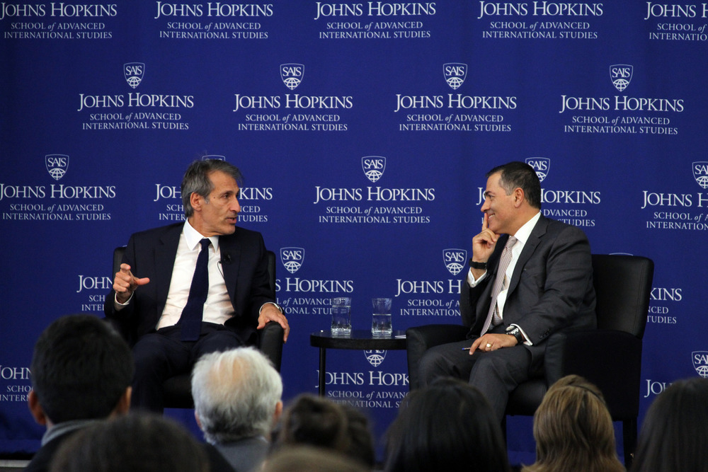 CEO of Sony Entertainment Michael Lynton and Johns Hopkins SAIS Dean Vali Nasr, October 19, 2015.