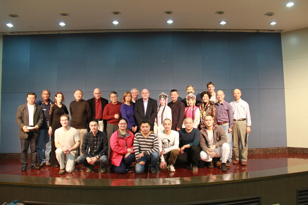 The Hopkins-Nanjing Center students, staff, and faculty pose with performers from the Kunqu Opera at a special on-campus performance, November 12, 2015.