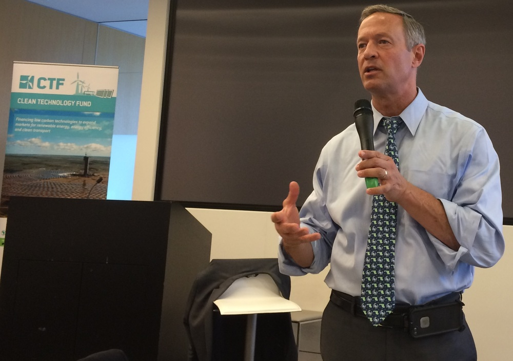 "Former Maryland Governor Martin O'Malley at the 2016 Climate Transactions Summit: ""Carbon will be priced. It's a matter of when and where…Climate change is the greatest business opportunity to come to the United States in 100 years."""