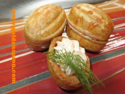Savory Waffle Nuts with Salmon and Cheese