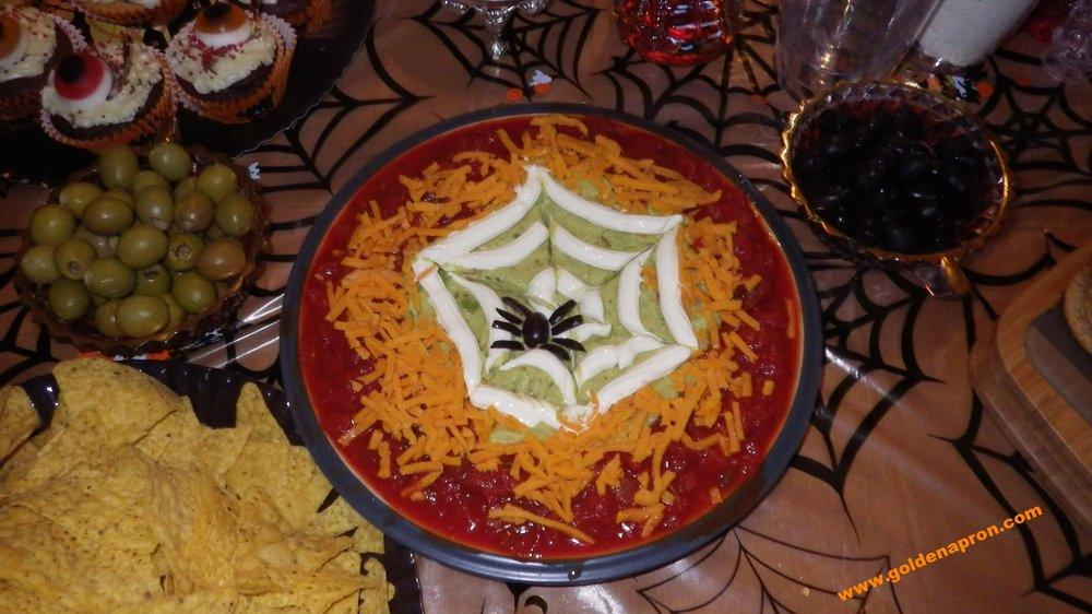 Halloween Recipe Ideas Spider Web Guacomole Cheese Dip