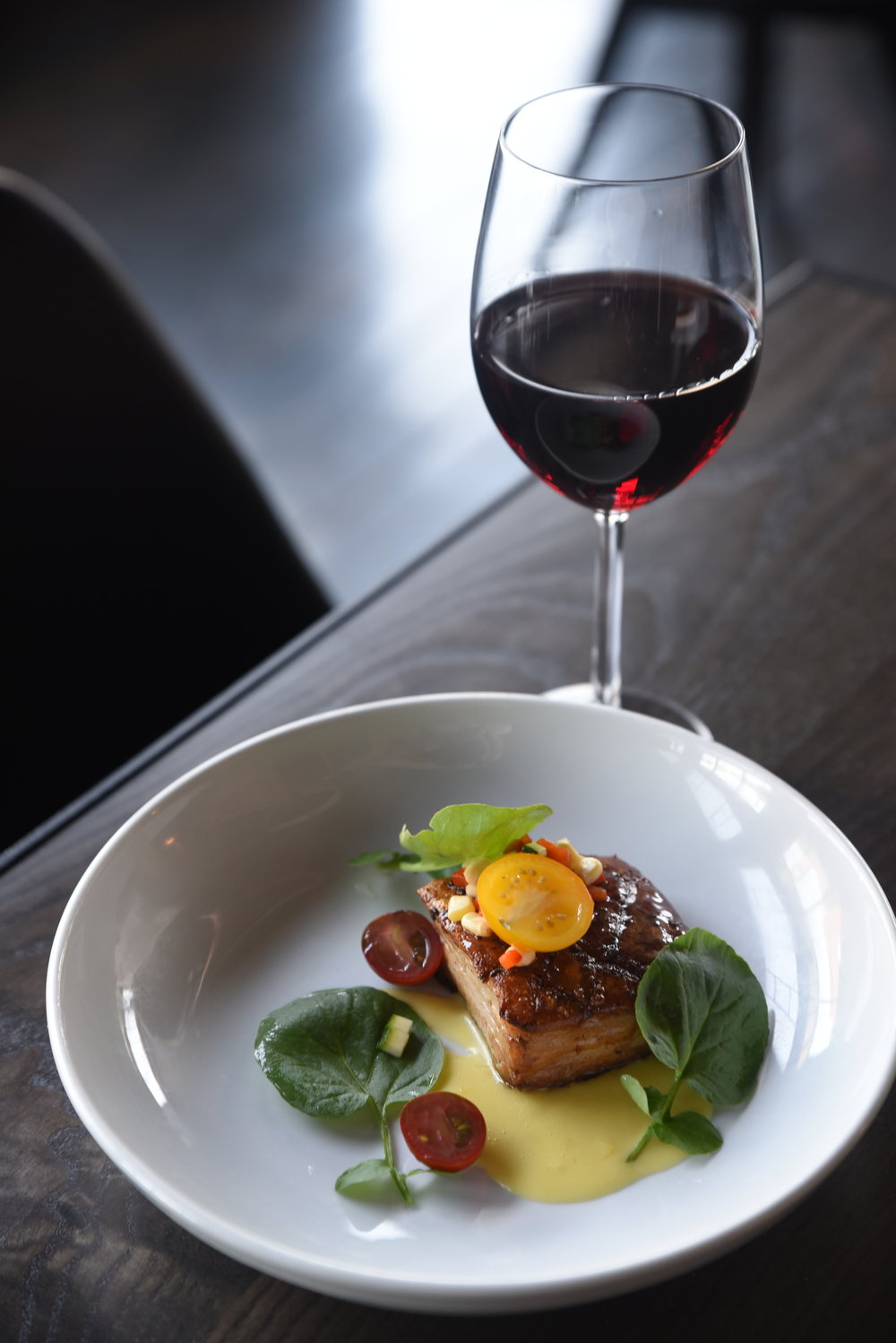 Glazed Pork Belly - Zucchini & red pepper relish, cherry tomatoes, watercress & sweet corn veloute.