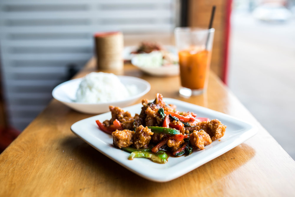 Best Thai Food in Kansas City: Koko Thai-Koko's Crispy Garlic Chicken, Kasim Hardaway