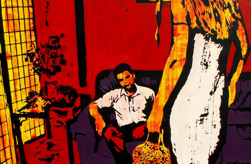 "The confrontation, 2008  Acrylic on canvas, 180 cm x 120 cm / 5' 11"" x 3' 11"""
