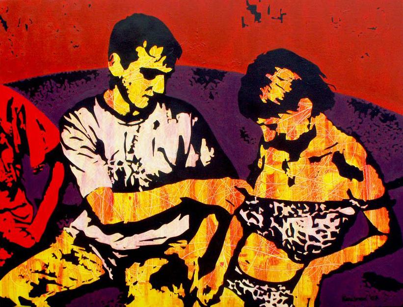 "Two tigers, 2008  Acrylic on canvas, 130 cm x 100 cm / 4' 3"" x 3' 3"""