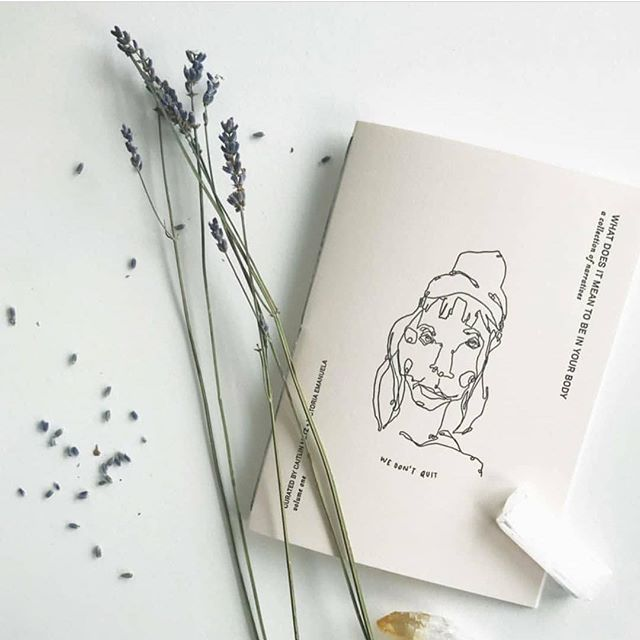 This little beauty is a collection of narratives by myself and ten other stunning humans on what it means and how it feels for us to be at home and fully present within our own bodies, with a portrait of each of us drawn by @caitie_metz accompanying each one. It is sweet and brave and perfect, and you can have one of your very own from the Shop on their website -- linked in their profile. Thank you for having me, @onbeinginyourbody. Your work is truly vital in every way -- both absolutely necessary and overflowing with life.
