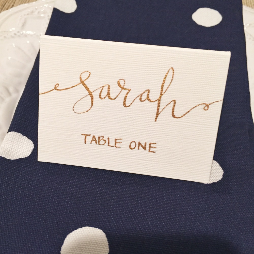 This is a wedding place card that I recently created for a styled shoot using a straight holder, the blue pumpkin nib and  Winsor & Newton gold calligraphy ink .
