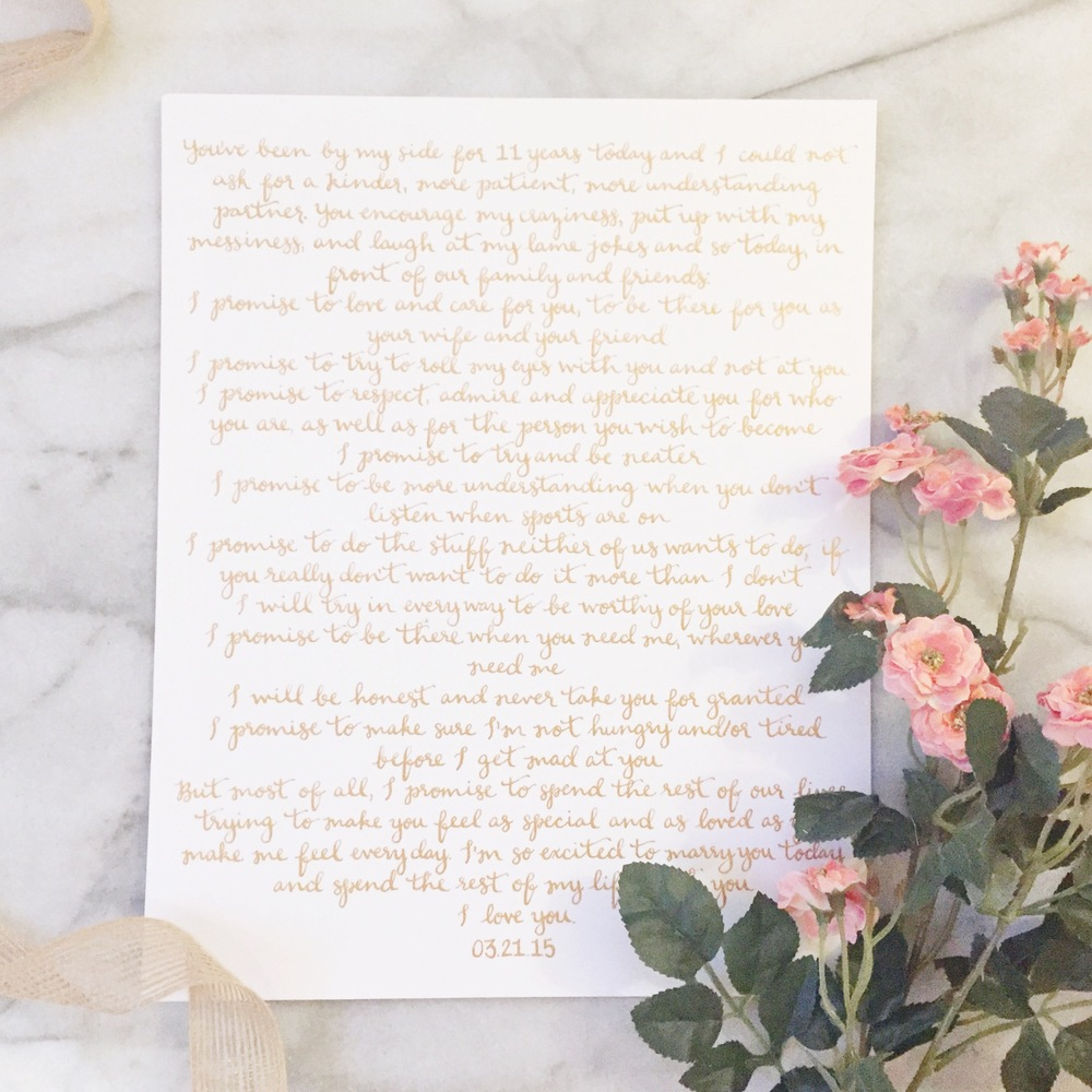 gold calligraphy wedding vows