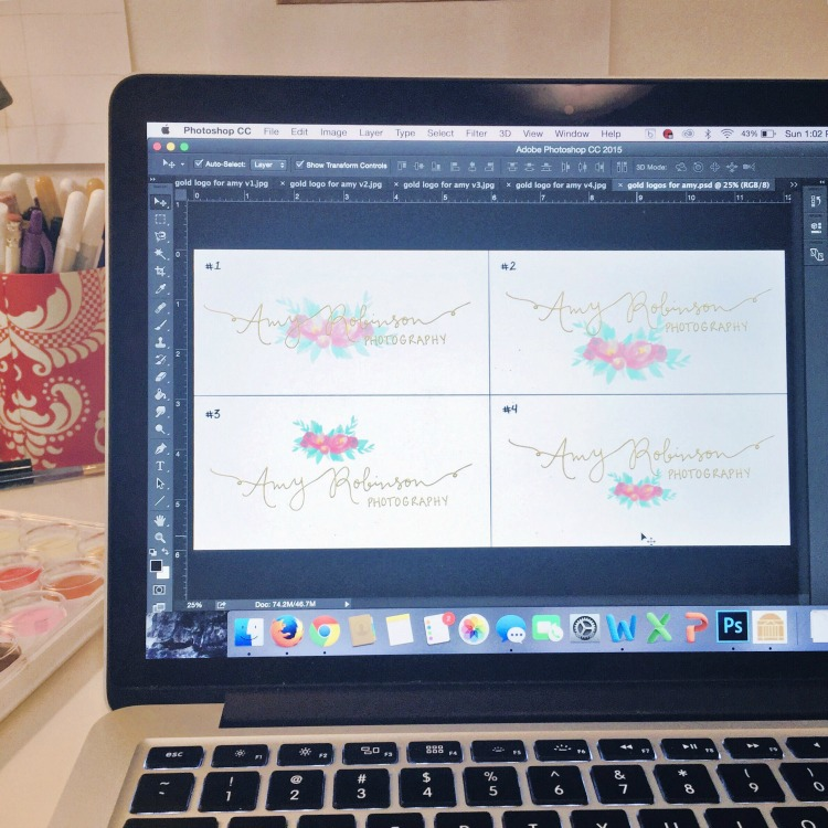A sneak peak at the design process for Amy's logo.