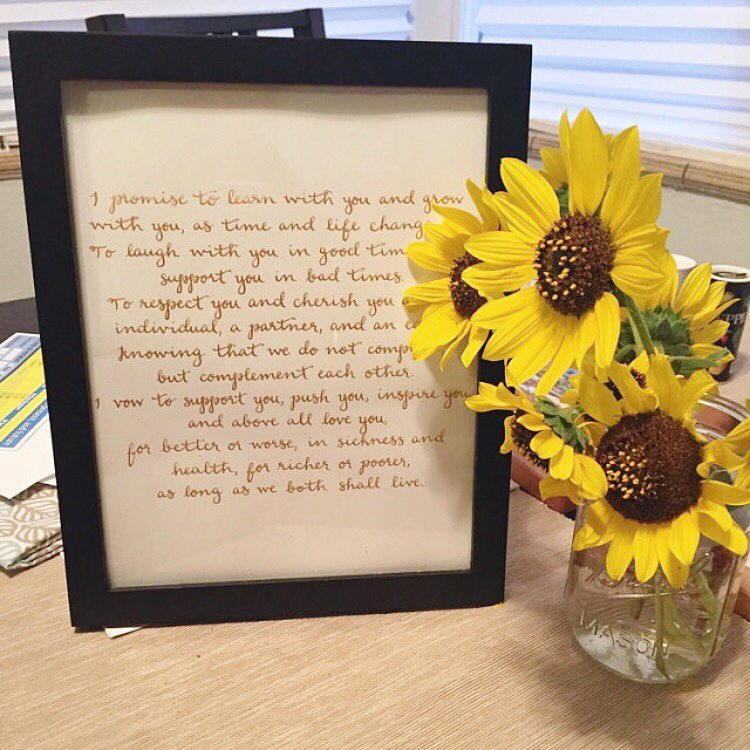 wedding vows calligraphy - nora and aj - sunflowers